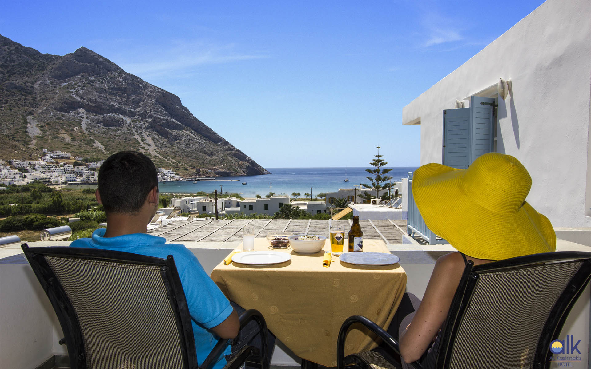 Breakfast on the terrace with kamares view alkhotel for Breakfast terrace
